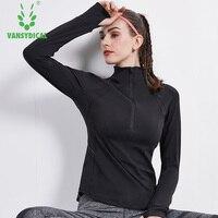 Womens Slim Yoga Shirts Breathable Running Gym Tops Stand Collar Cycling Training T Shirt Long Sleeve Zipper Sportswear