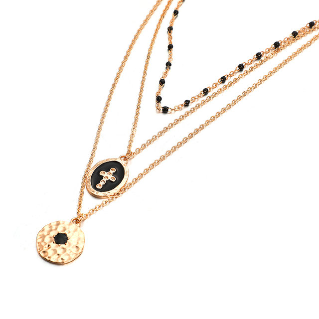 Tocona Multi-layer Retro Cross Pendant Necklace for Women Black Beaded Gold Chain Choker Geometric Bohemian Jewelry B25105 Accessories Jewellery & Watches Women's Fashion