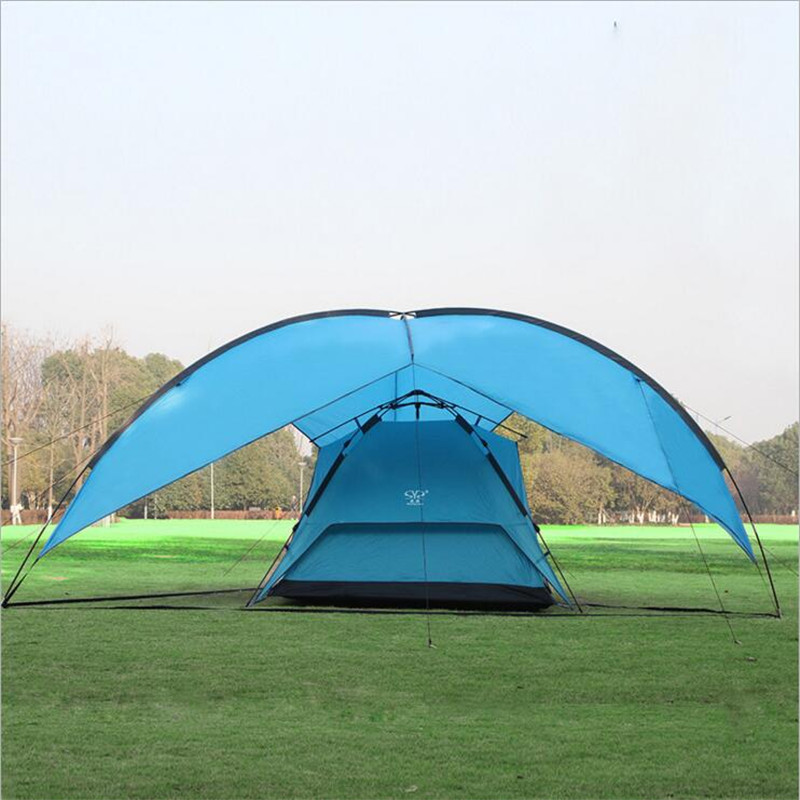 Portable Large Beach Camping Tent Waterproof Canopy Sun Shelter Outdoor Awning Party Roof Top Tarp Hiking Family Barraca Gazebo octagonal outdoor camping tent large space family tent 5 8 persons waterproof awning shelter beach party tent double door tents