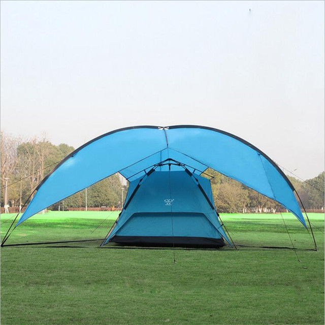 Portable Large Beach C&ing Tent Waterproof Canopy Sun Shelter Outdoor Awning Party Roof Top Tarp Hiking & Portable Large Beach Camping Tent Waterproof Canopy Sun Shelter ...