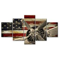 Vintage American US USA Flag Head Propelle Canvas Wall Art Prints Retro Warplanes Home Decor Pictures 5 Panel Posters