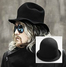 Men's Gothic Woolen Bowler Hat Ladies' Fashion Rounded Rolled Fedoras Quality Billycock Chapeu Casquette 2016 Retail&Wholesale