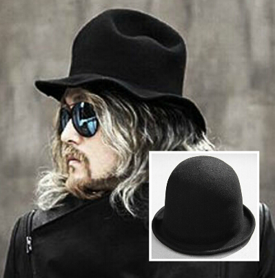 Men s Gothic Woolen Bowler Hat Ladies Fashion Rounded Rolled Fedoras Quality Billycock Chapeu Casquette 2017