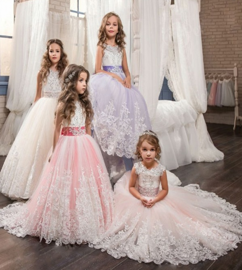 2019 Charming Lace Puffy Lace   Flower     Girl     Dress   for Weddings Party Tulle Ball Gown   Girl   Party Communion   Dress   Pageant Gown