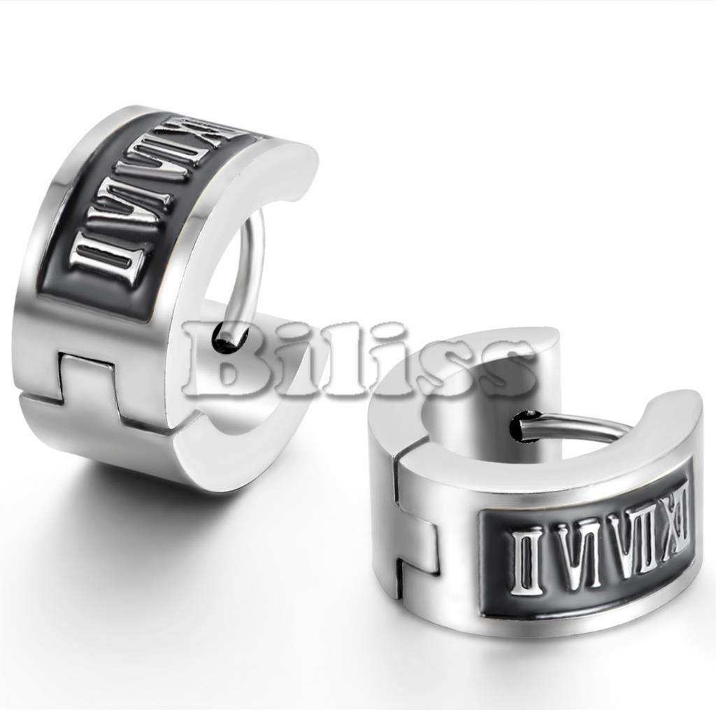 Punk Mens 316l Stainless Steel Hoop Huggie Earrings Vintage Simple Roman  Numerals Men Jewelry Silver Color