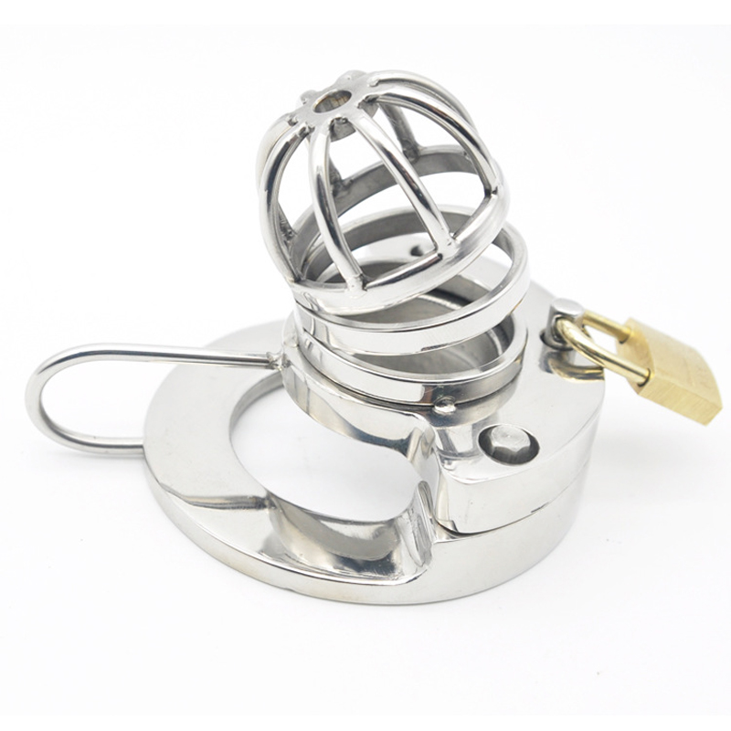 New chastity cage stainless steel Metal cock cage for penis lock Bending open type male chastity device  sex products for men cock cage penis rings with metal catheter stainless steel chastity device fetish adult products sex toys for men aj31