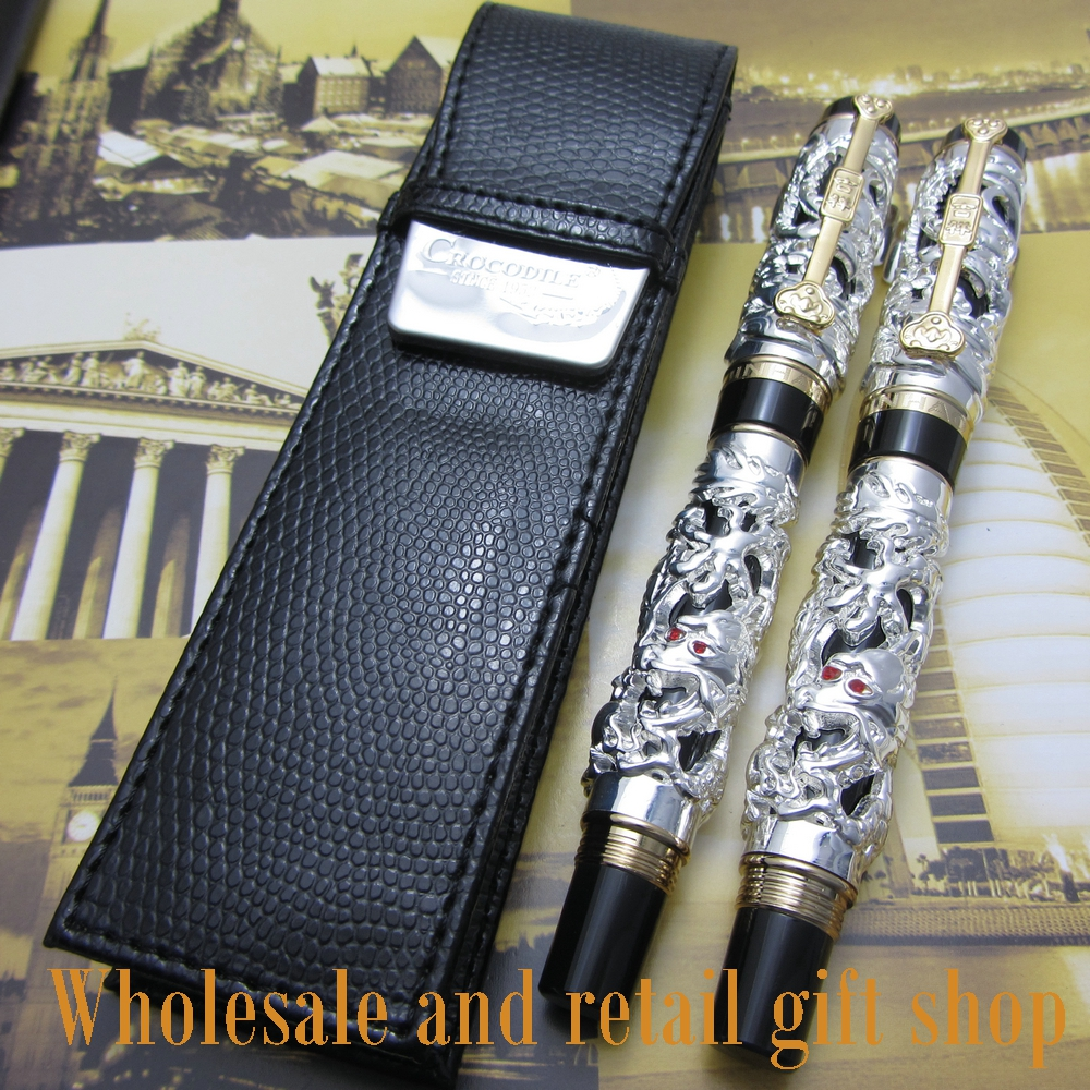 2pcs pen Jinhao Dragon Phoenix Heavy Silver Chinese Classical Luck Clip and pen bag free shipping roller ball pen jinhao 189 noblest ancient silver medium 0 7mm nib great wall pen
