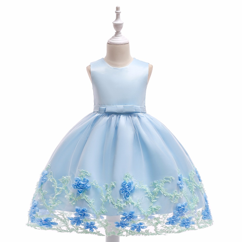 Cute   Girls     Dress   Scoop A-Line Knee Length Pearl Ribbon Sash Organza   Flower     Girls     Dresses   Little   Girl   Party Gowns