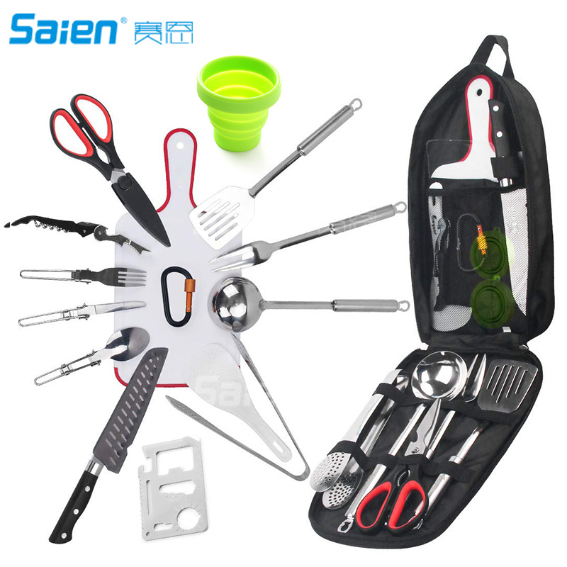 17pcs Backpacking Camping Cookware Kitchen Utensil BBQ Organizer Travel Mess Kit with Water Resistant Case Cutting
