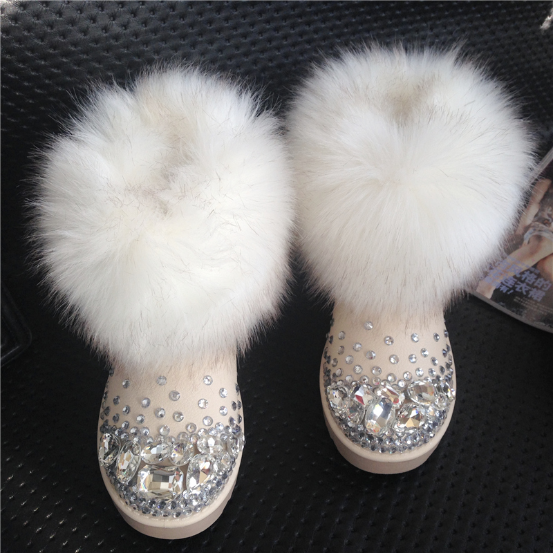 Female snow boots winter fox fur ankle thermal handmade rhinestone gem slip-resistant platform - yuki fashion store