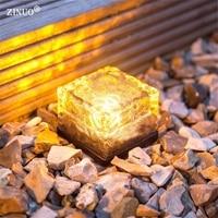 ZINUO 4 stks Outdoor LED Solar Begraven Led Lampen Glas Grond Lamp Tuin Gazon Licht Gehard Zonne-energie Led Ondergrondse lichten