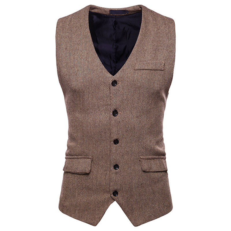 Suit Vest Wedding-Vests Waistcoat Men Vintage Herringbone Tweed Business Brown Sleeveless