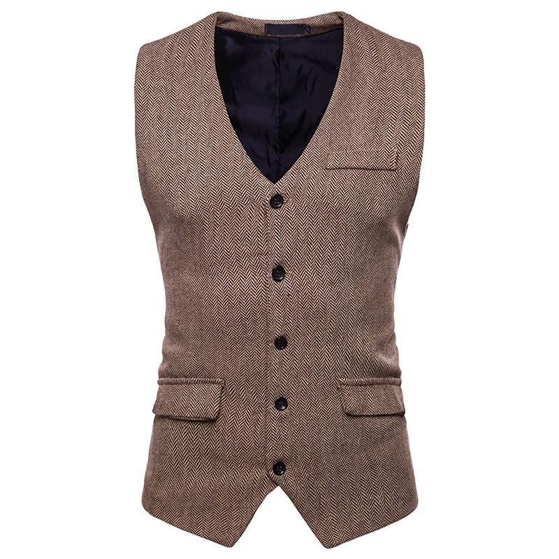 Vintage Brown Tweed Suit Vest Men 2018 Fashion Sleeveless Herringbone Tweed Tuxedo Vest Waistcoat Men Business Wedding Vests XXL