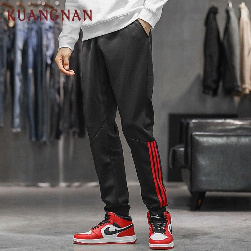 KUANGNAN Men Harem-Pants Jogger Striped Casual XXXL