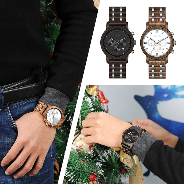 BOBO BIRD Chronograph Men Watch relogio masculino Calendar Quartz Watches Wood Luxury Timepieces in Wooden Gift Box
