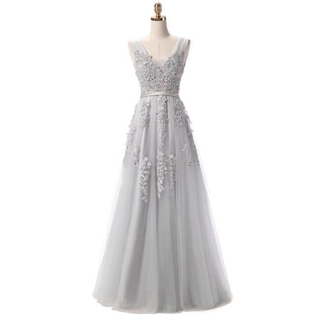 Robe De Soiree SSYFashion, кружевное, с бисером, сексуальное, с открытой спиной, длинное вечернее платье, для невесты, банкета, элегантное, длина до пола, для вечеринки, выпускного вечера - Цвет: Light Grey