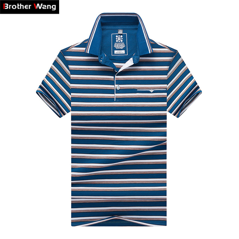 2019 new summer men's stripes   polo   shirt Business casual fashion High quality short-sleeved   POLO   tops Brand clothes