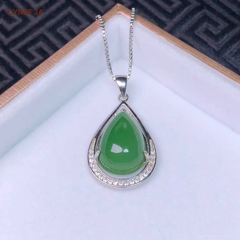 Jaspe Hetian naturel certifié incrusté 925 argent Sterling fait à la main pendentif Jade chanceux vert glace de haute qualité cadeaux merveilleux