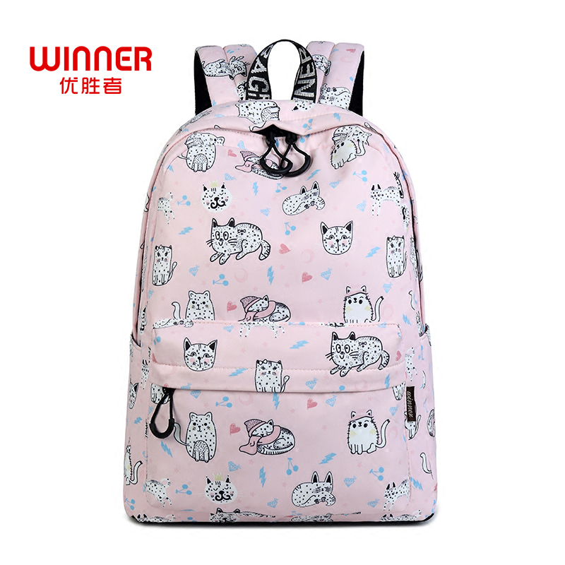 WINNER Cute Cat Print Backpack For Teenager Girls School Bag Female Travel Rucksack Lapt ...