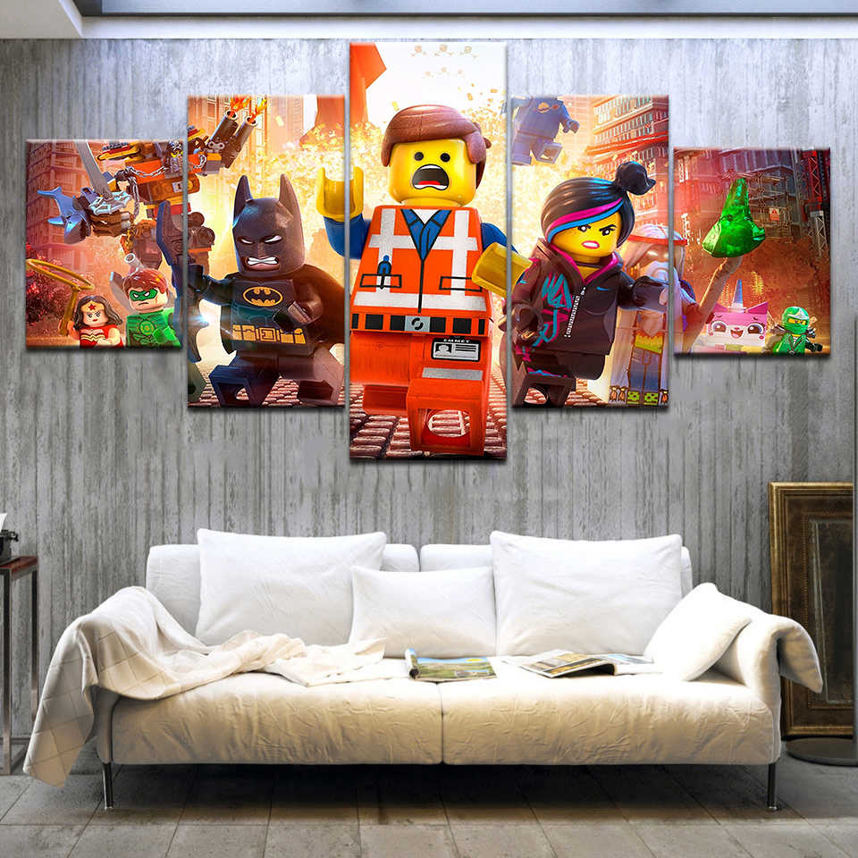 5 Pieces Lego Movie Kids Canvas Poster Wall Art Modular Pictures Home Decor Wall Pictures For Living Room Oil Cuadros Decoracion