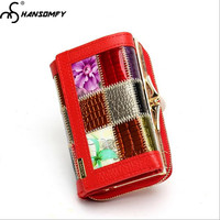 Brand Women tri fold Genuine leather wallets leather plaid clutch bag Money cards ID Holder Coins Purses Mini female wallet