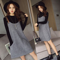 Maternity comfort autumn two piece all-match  new slim sling loose pocket knitted suspenders