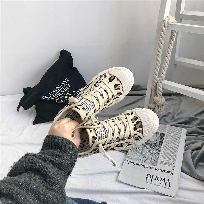 30d777c1e577 Spring Women Canvas Shoes Leopard Lace Up Lady Sneakers 2019 Flat Heel  Thick Canvas Tiger Ins