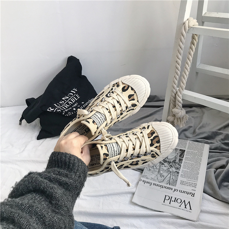 2019 Women Canvas Shoes Leopard Lace Up Lady Sneakers