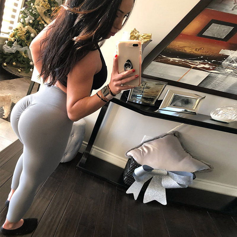 New High Waist Leggings Women Fitness Clothes 2018 Slim Ruched Bodybuilding Women s Pants Athleisure Female