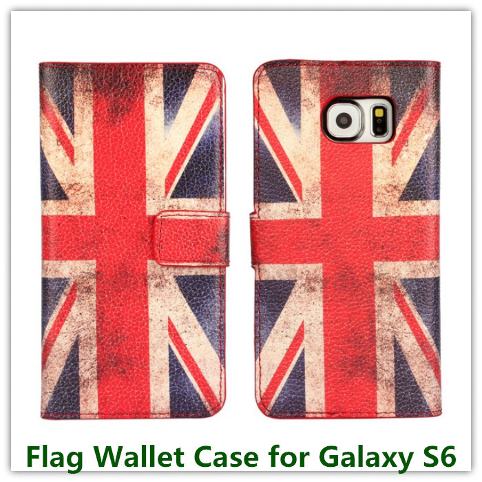 10PCS Hot Sales Retro USA UK Nation Flag Slot Stand Purse Wallet Pouch Back Case for Samsung Galaxy S6 G9200 Card Holder