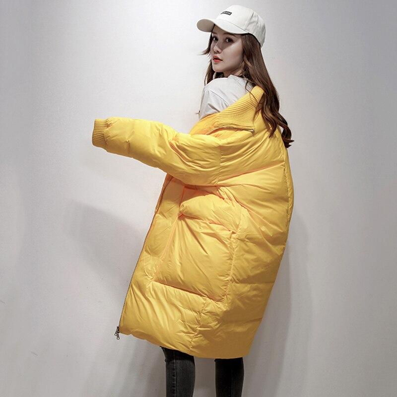 Lâche 2018 Chaud Hiver Moyen Long De Bas Veste F785 jaune Vers Épais Femmes Canard Manteau Femme Poche Le Dames Duvet Col Noir ivoire Montant Outwear Blanc TrUqwATa