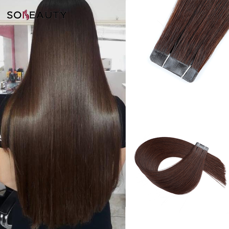 Sobeauty Hair-Extensions Tape-In Brown Skin-Weft-20pcs Double-Drawn Real European 18