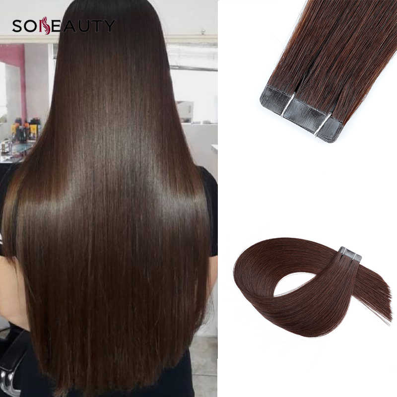 Sobeauty Tape In Hair Extensions Hair Extensions 2#18#60# Real Remy Hair Skin Weft 20PCS European double drawn hair brown