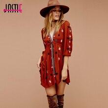 Jastie Stargazer, мини платье, вышивка, v-образный вырез, женское сексуальное платье, регулируемая талия, 3/4 рукав, тонкая Hi-Lo Hem Boho Vestidos