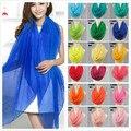 Nueva llegada 2016 color sólido de la bufanda de seda de primavera y otoño de las mujeres cachecol bufanda de gasa color sólido envío libre