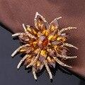 Moda atacado cristal tamanho grande e grandes strass broches de flor melhor presente de natal para a mãe