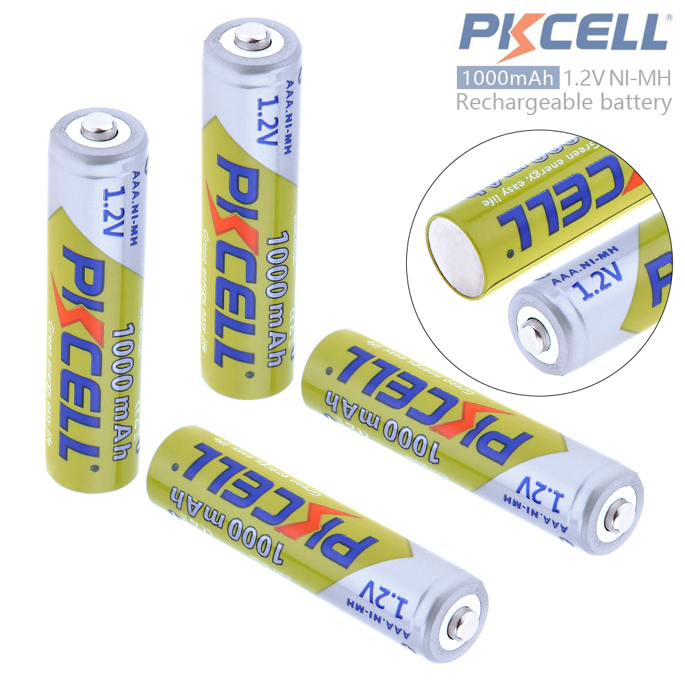 PKCELL 4pcs 1.2V <font><b>AAA</b></font> <font><b>1000mAh</b></font> Ni-Mh <font><b>Rechargeable</b></font> Batteries 3A Bateria Baterias + Battery Storage Case Box for Camera Toy image