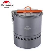 лучшая цена Naturehike Outdoor Camping Cookware Anodised Aluminum Non-stick Pots Bowls Energy-saving Folding Handle Picnic Tableware