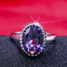 Huge Purple Oval Zircon Rings for Women Fashion Engagement White Gold Color Rings Ladies Gifts Jewelry Party Accessories engagement oval zircon rings for women fashion white gold color wedding jewelry ladies ring size 6 10