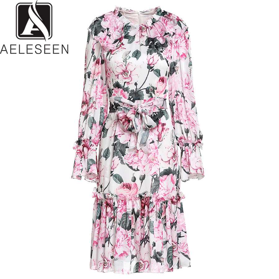 AELESEEN Peony Printed Summer Dress Luxury Runway 2019 High Quality Fashion Flare Sleeve Flower Ruffles Belt Elegant Dress