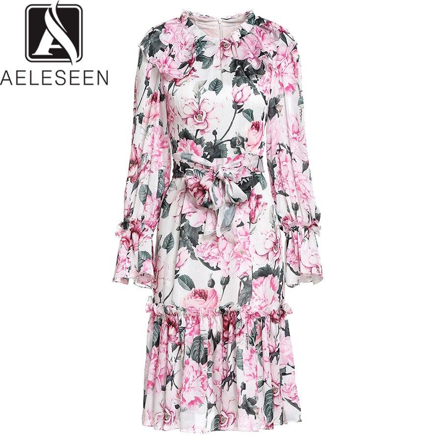 AELESEEN piwonia wydrukowano letnia sukienka luksusowe Runway 2019 wysokiej jakości moda Flare rękawem kwiat Ruffles pas elegancka sukienka w Suknie od Odzież damska na  Grupa 1
