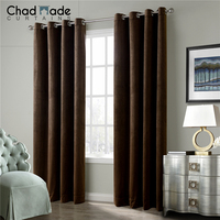 ChadMade Solid Matt Heavy Velvet Curtain Drape (1 Panel ) Super Soft Grommet Curtain for Living Room | Theater | Bedroom S1