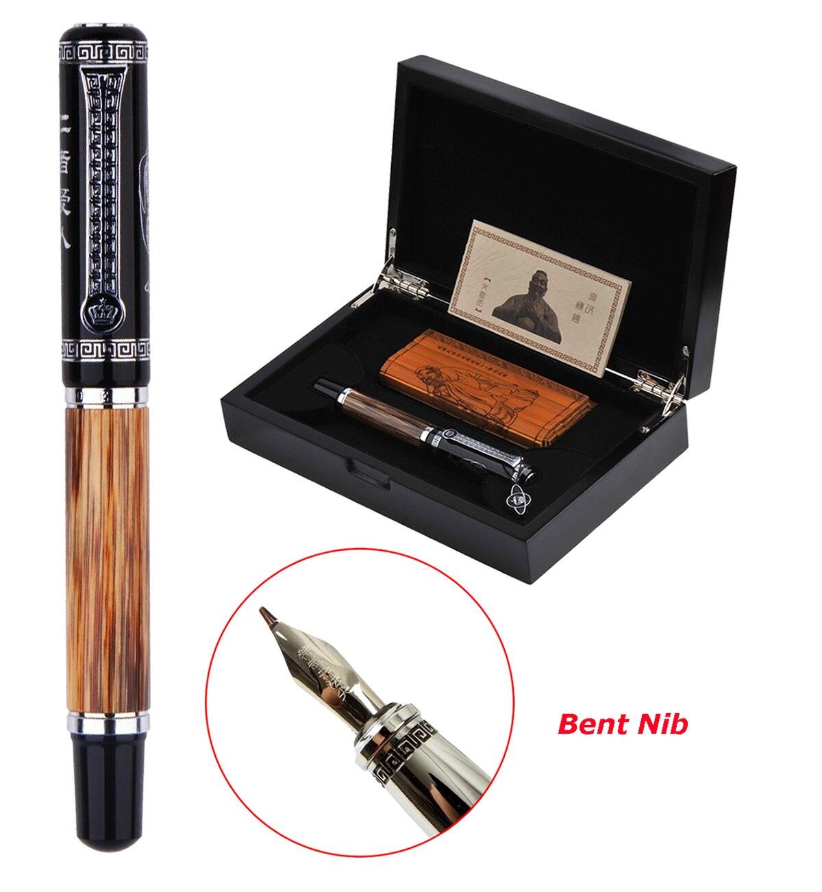 Duke Classic Confucius Natural Bamboo Metal Embossed Pattern Bent Nib Calligraphy Fountain Pen Iridium 1.2mm for Office / Gift