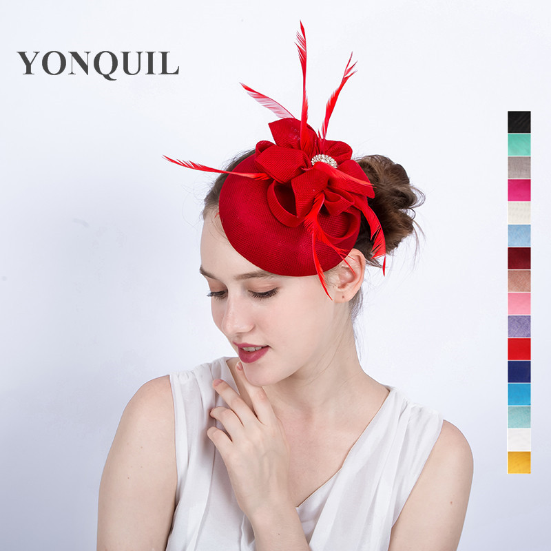 High quality imitation sinamay red fascinators hat 16colors select fancy feather church party headpiece with hair clips SYF119 free shipping high quality 2015 mini disc flower sinamay fascinator with feather for race