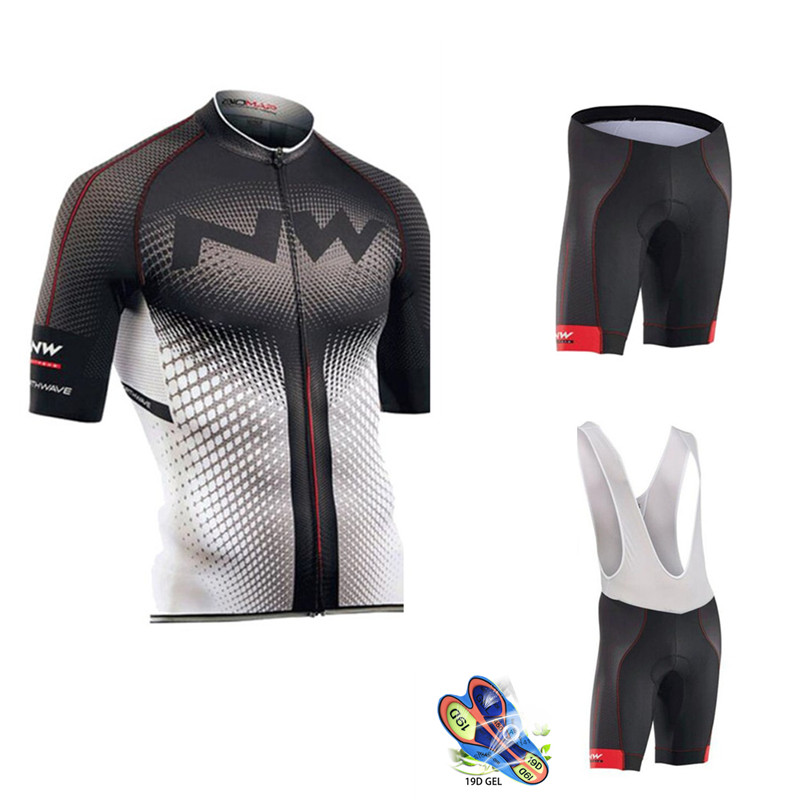 2019 summer NORTHWAVE Men Cycling Jersey Short Sleeve Set Breathable bib shorts NW Bicycle Clothes 19D Gel Pad Clothing