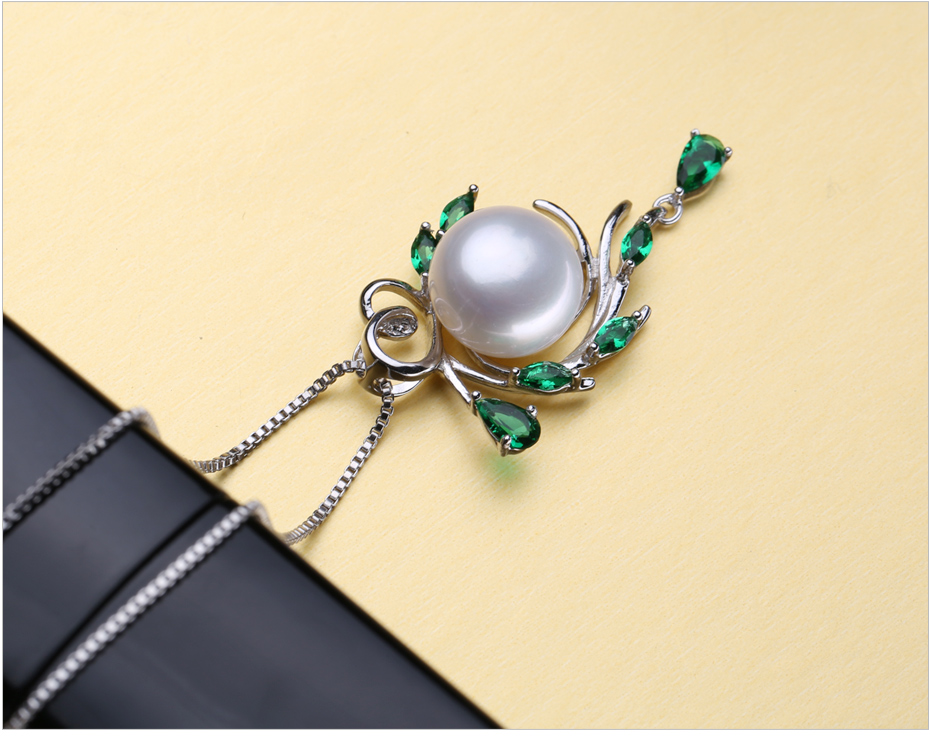 FENASY S925 Sterling Silver Freshwater Pearl Necklace For Women Pearl Jewelry Statement Boho Leaf Emerald Crystal Necklace