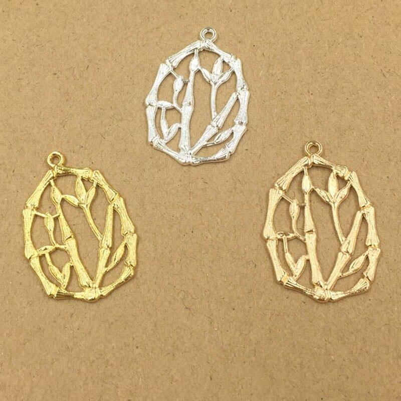 Ретро металлическая филигрань бамбуковые Подвески ремесла для женщин Эффектные серьги Висячие на Висячие серьги подвеска для изготовления ожерелья