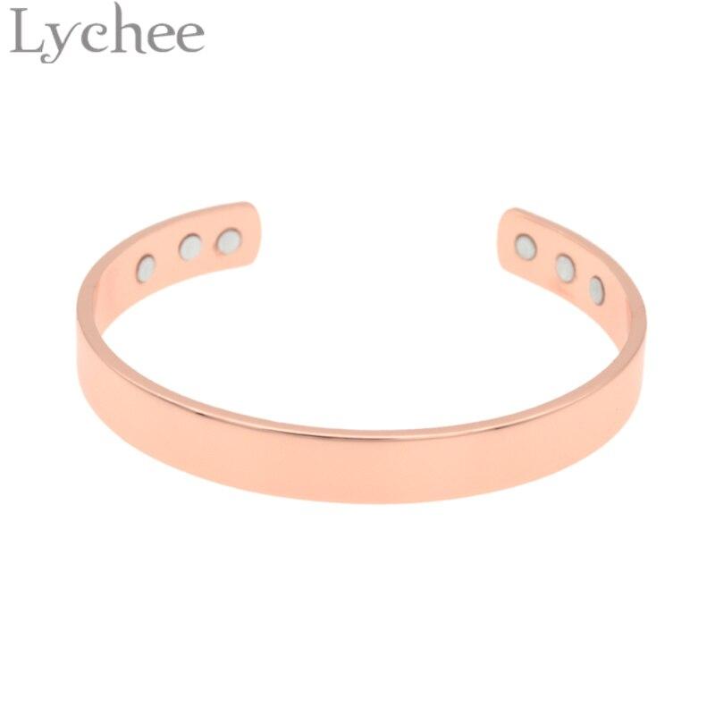 Lychee Vintage Rose font b Gold b font Magnetic Health Copper Bangle font b Bracelet b