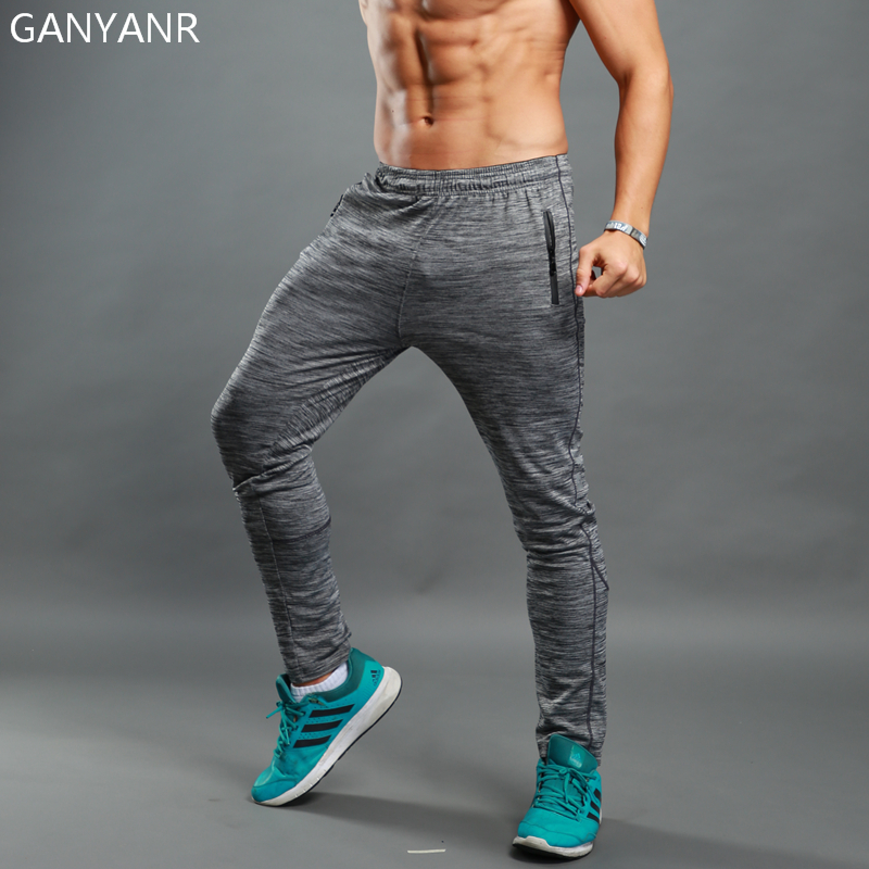 GANYANR Brand Running Pants Long Men Sport Legging Training Trousers Jogging Yoga Gym quick dry Football Fitness Elastic Workout in Running Pants from Sports Entertainment