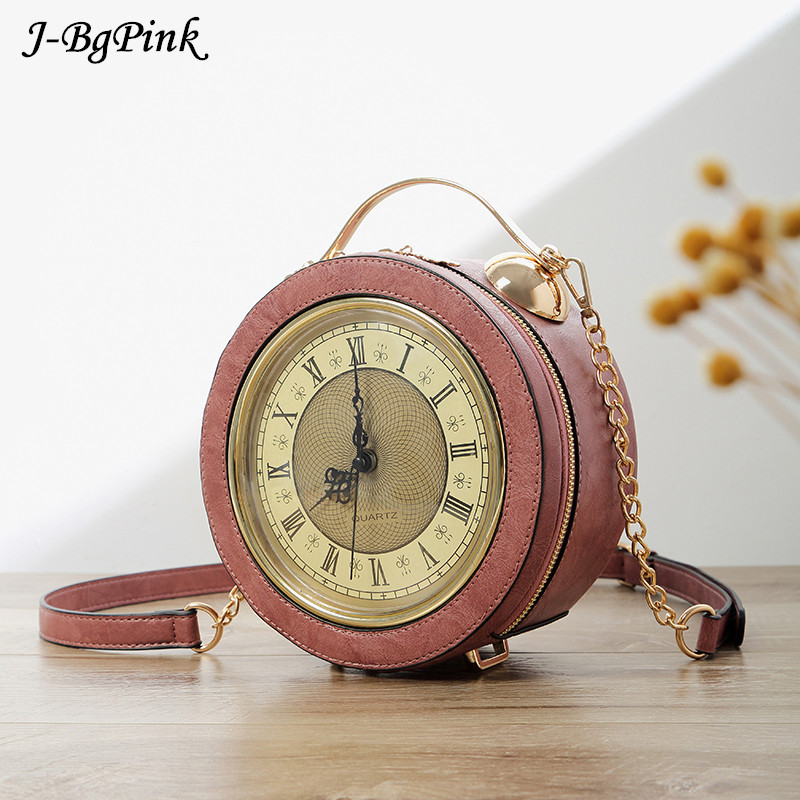 Personalized Fun Fashion Clock Shape Leather Bag Circular Ladies Handbag Chain Purse Shoulder Bags Crossbody Messenger